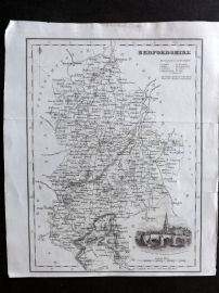 Bell & Fullarton C1835 Antique Map. Bedfordshire, UK